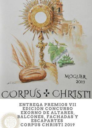 CARTEL ENTREGA PREMIOS CONCURSO EXORNO ALTARES, BALCONES, FACHADAS Y ESCAPARATES CORPUS CHRISTI. MOGUER 2019